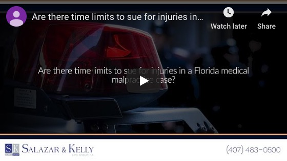 Are there time limits to sue for injuries in a Florida medical malpractice case?