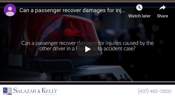 Can a passenger recover damages for injuries caused by the other driver in a Florida auto accident case?