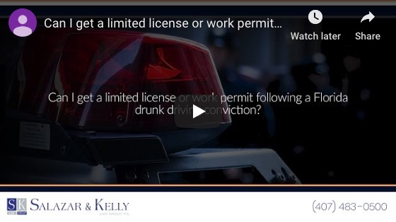 Can I get a limited license or work permit following a Florida drunk driving conviction?